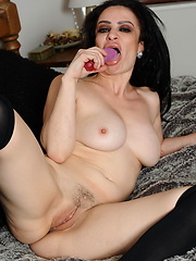 Amazing brunette MILF enjoying herself
