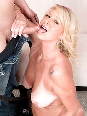Amazing white-haired mature Nikki Chevious licking cock