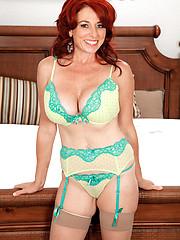 Hottest redhead woman Karen Kougar in sexy lingerie