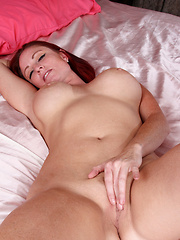 Curvy cougar Sandi Lymm teases her cock craving naked body