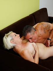 Horny housewife fucking on the couch