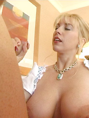Wifey plays a maid in a hotel and sucks her hotel guest's dick