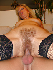 Older slut with massive bush loves to fuck!
